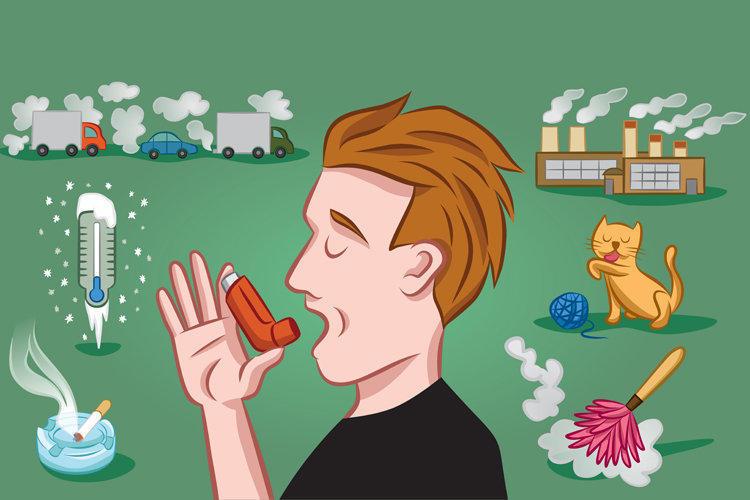 человек с ингалятором и аллергены